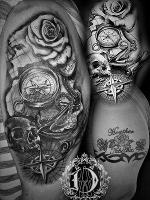 First session of black and gray nautical style coverup #coveruptattoo #tattoodesign #tattoos #tattoomafia #alexdavidsontattoos #design #instagood #instashare #instart #instaink #fkirons #xion #fkironsxion #tattoopen #tattoo #tat #tattooshop #art #shading #eliteneedles #eternalink #dynamicink