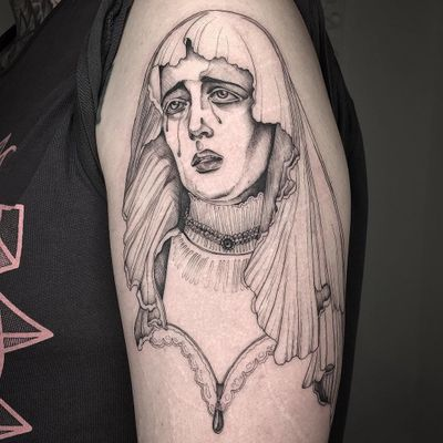Illustrative tattoo by Vanpira aka vanpriegonova #Chicanotattoos #chicanotattoo #chicanx #chicano #chicana #CincodeMayo #Mexican #Mexico #tattooinspiration #besttattoos