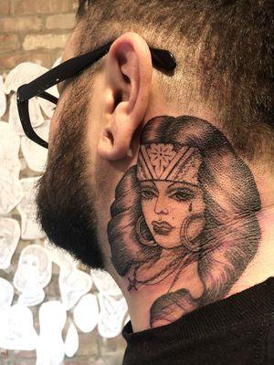 Neck tattoo by Tamara Santibanez #TamaraSantibanez #Chicanotattoos #chicanotattoo #chicanx #chicano #chicana #CincodeMayo #Mexican #Mexico #tattooinspiration #besttattoos