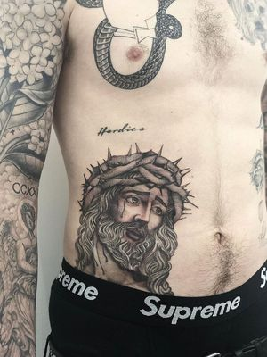 Jesus tattoo by Big Steve #BigSteve #Chicanotattoos #chicanotattoo #chicanx #chicano #chicana #CincodeMayo #Mexican #Mexico #tattooinspiration #besttattoos