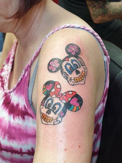 Fun Mickey and Minnie mouse tattoo, customer over the moon! #disney #colourtattoo #colour #cartoontattoo #cartoon #MickeyMouse #minniemouse #Minnie #minnieandmickey #disneytattoo #skullcandy #colours #brightandbold #lancing #shoreham #shorehambysea #worthing #bright #fun #colourful