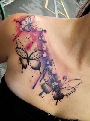 #Butterflies #butterfly #watercolortattoo #watercolorbutterfly #purple #pink #blackbutterfly
