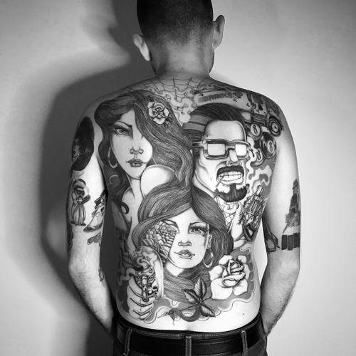 Back tattoo by Jose Araujo Martinez #josearaujomartinez #Chicanotattoos #chicanotattoo #chicanx #chicano #chicana #CincodeMayo #Mexican #Mexico #tattooinspiration #besttattoos