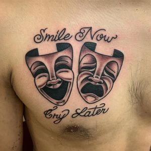 Smile Now Cry Later tattoo by Javiar DeLuna #JaviarDeLuna #Chicanotattoos #chicanotattoo #chicanx #chicano #chicana #CincodeMayo #Mexican #Mexico #tattooinspiration #besttattoos