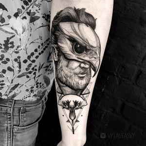 #eagle #mask #flower #unique #perfect #blackwork #dotwork #geometry #tattooidea #gentelman