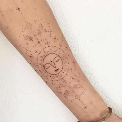 Hand Poke Tattoo: Mystical Dotwork by Ink & Earth #Ink&Earth #InkandEarth #handpoketattoo #nonelectrictattoo #handpoketattoo #handpoke #dotwork #sun #moon #tribal #pattern #sun