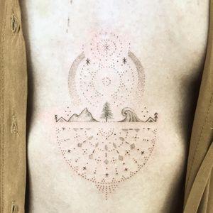 Hand Poke Tattoo: Mystical Dotwork by Ink & Earth #Ink&Earth #InkandEarth #handpoketattoo #nonelectrictattoo #handpoketattoo #handpoke #dotwork #sun #moon #tribal #pattern #mandala #nature