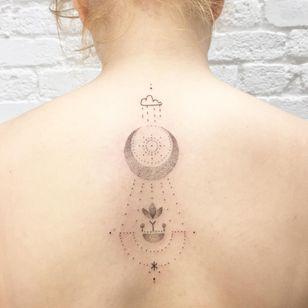 Hand Poke Tattoo: Mystical Dotwork by Ink & Earth #Ink&Earth #InkandEarth #handpoketattoo #nonelectrictattoo #handpoketattoo #handpoke #dotwork #sun #moon #tribal #pattern #rain #flower #moon