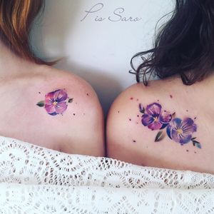 Birth month flower tattoo by Pis Saro #PisSaro #violets #violettattoo #violet #birthmonthflowertattoos #birthmonthflowers #flowertattoo #flowers #florals #petals #blooms #leaves #nature #plant #birthmonth