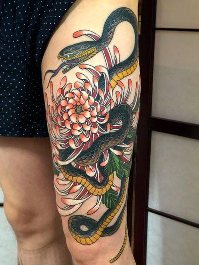 Birth month flower tattoo by Matt Adamson #MattAdamson #chrysanthemum #snake #japanese #birthmonthflowertattoos #birthmonthflowers #flowertattoo #flowers #florals #petals #blooms #leaves #nature #plant #birthmonth