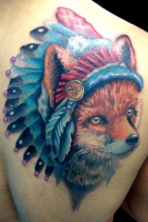 Fox with a headdress