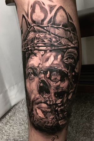 jesus & skull black and gray realism chicano blackwork korean