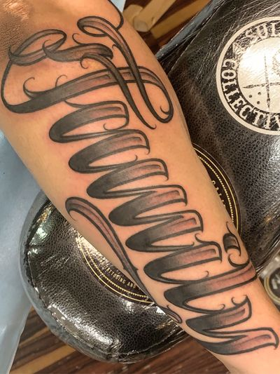 Family #letteringtattoo #lettering #script #scripttattoo for appointments text 3109010862