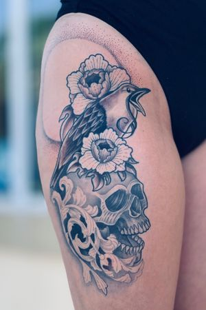 Fun thigh piece #skulltattoo #skull #bird #peony