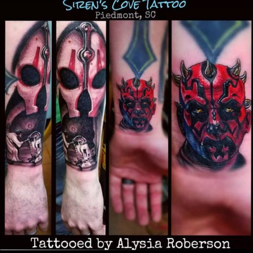Since May 4th has been turned into a Star Wars thing now, here you go!! Several Star Wars tattooed by Alysia Roberson at Siren's Cove Tattoo in Piedmont, SC!! #maythefourthbewithyou #maythe4thbewithyou #maytheforcebewithyou #starwars #starwarstattoo #realistictattoo #coveruptattoo #colortattoo #blackandgreytattoo #tattoos #tattooed #skywalker #tattooedwoman #tattooedman #portraittattoo #inkmaster #sctattoo #sctattooartist #sctattooshop #sctattooist #sctattooer #southcarolinatattooartist #greenvillesc #sith #disneytattoo #clemsonsc #Alysiarobersontattoo #sirenscovetattoo www.facebook.com/sirenscovetattoo www.facebook.com/Alysia.Roberson.Tattoo.Artist Instagram:@sirens_cove_tattoo