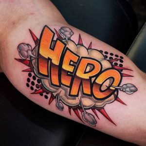 Hero comic style for arm.