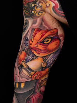 Samurai frog on arm.