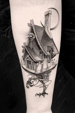 #tattoodo #babayaga #baba #house #story #skull #Moon #dotwork #blackwork #detailed #fineline
