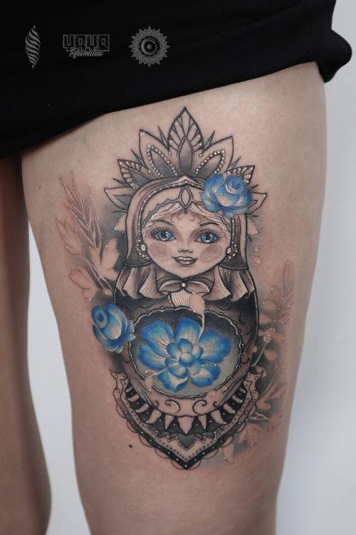 Babushka or Matryoshka for Ksenia, thanks for your trust 💣 @yayofamilia Pro Team Artist For consultations and bookings DM or email: saint.wandal@gmail.com Done using @fusion_ink , @fkirons , @cheyenne_tattooequipment , @piranhatattoosupplies , @barberdtssupplies & @killerinktattoo #radtattoos #tattootuesday #superbtattoos #tattoosnob #inkig #tattoos #tattooworld #wandaltattoo #tattooeurope #inkjunkeyz #babushkatattoo  #babushka #legtattoo #london #londontattooist #thightattoo #killerink #yayofamilia #blackandgray #русскийлондон #татуировка #тату #лондон