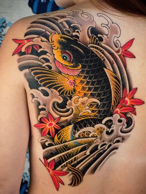 Koi and maple leaves on the back.