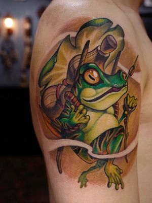 Korean style carrier frog on arm.