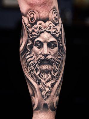 Healed Zeus statue on shin.