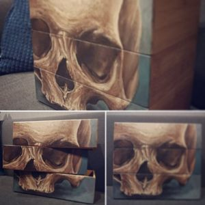 painting in progress, something I started working on 🎨 cool three-layered skull box ✌✌ #tattoothailand #visitthailand #designer #skullbox #interiordesign #homedecor #skull #inkaddicts #skulltattoo #tattoocommunity #tattooartist #siamtattoo #bkkink #bangkoktattoo #realistictattoo #acrylic #acrylicpainting #painting #paint #realistic #art #tattoolife #homeideas #supportgoodtattooing #instatattoo #tattooartistmagazine #instapainting #skullart #artlife #moreart