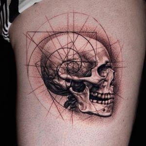 Skull on leg.