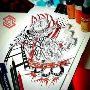 "[TATTOO DESIGN] Composición ""Chakana, Rollo, Brújula, Punk, Manopla"" Estilo Trash Polka. Red, Black & grey"" Diseño propio personalizado. Artista: FB/INSTA: @jaime.sxe #SkylineStudio #DiseñoDeTatuaje #CreateYourself"