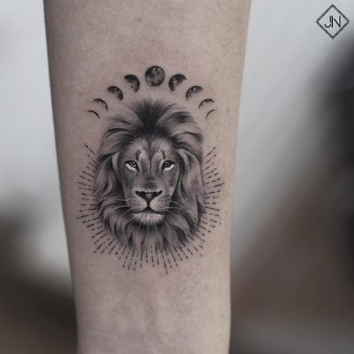 Symbol tattoo by Jefree Naderali #jefreenaderali #symboltattoo #symboltattoos #symbol #symbols #tattooswithmeaning #meaningfultattoo #moonphases #moon #lion
