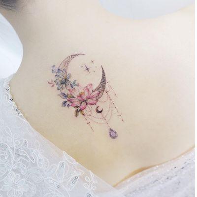 Symbol tattoo by Tattooist Banul #Banul #tattooistbanul #symboltattoo #symboltattoos #symbol #symbols #tattooswithmeaning #meaningfultattoo #moon #lotus #ornamental #gem #crystal #star #flowers