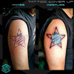 "[COVER UP TATTOO] ""Escudo Club Bolivar sobre corazón"" Estilo Biorgánico Full color Diseño propio personalizado Artista: FB/INSTA: @jaime.sxe #SkylineStudio #Tattoo #CreateYourself"