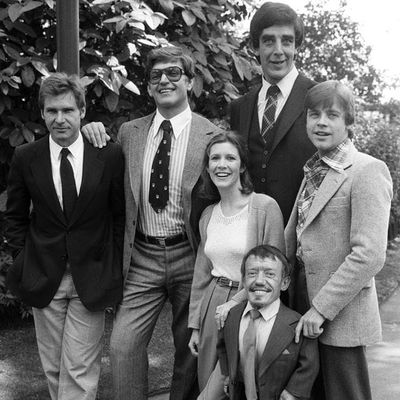 Photo of the Star Wars cast including Carrie Fisher, Peter Mayhew and Harrison Ford #chewbaccatattoo #chewbacca #starwars #movietattoos #petermayhew #georgelucas #scifi