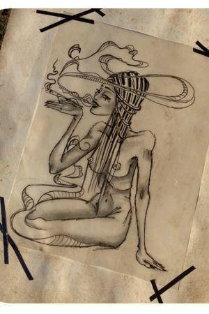 Macabre smoke girl..up as wanna do tattoo..write me a mail truevagabondtattoo@gmail.com or simply here:)...#tattoodesign#truevagabondtattoo#smoke#tattooflash#berlin#friedrichshain