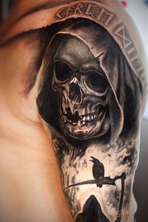 #Onlythebesttattooart #tattoo #ink #cristianrodrigueztattoos #blackandgrey #realism #surrealism #dotwork #ornamental #tribal #gemetric #colortattoo #skulltattoo #grimreaper #blackwork