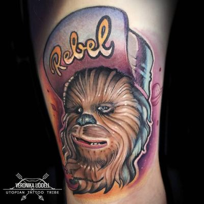Chewbacca tattoo by Veronika Liddell #VeronikaLiddell #chewbaccatattoo #chewbacca #starwars #movietattoos #petermayhew #georgelucas #scifi