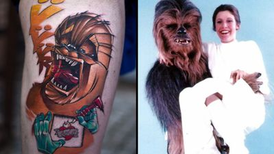 Chewbacca tattoo on the left by Luke Skydrawer and photo of Chewbacca and Princess Leia on the right #LukeSkydrawer #chewbaccatattoo #chewbacca #starwars #movietattoos #petermayhew #georgelucas #scifi