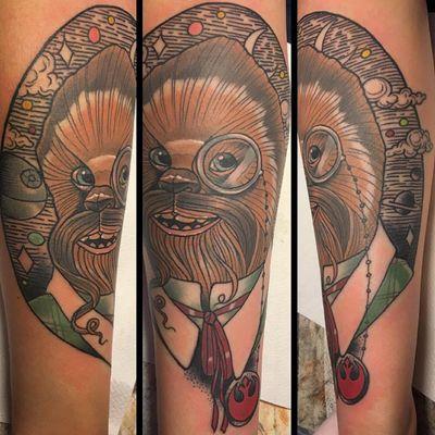 Chewbacca tattoo by Birdy aka Buybuybirdy #Birdy #buybuybirdy #chewbaccatattoo #chewbacca #starwars #movietattoos #petermayhew #georgelucas #scifi