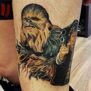 Chewbacca tattoo by Ian Miller #IanMiller #chewbaccatattoo #chewbacca #starwars #movietattoos #petermayhew #georgelucas #scifi