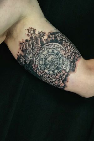 Black and grey pocket watch, bng tattoo, pocket watch, hydrangeas, flowers, healed and freah