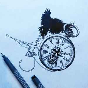 Colibri and Raven around a pocket-watch. #pencilart #pencildrawing #pencil #colibri #raven #pocketwatch #watch #idea #inspiration #inspirationtattoo