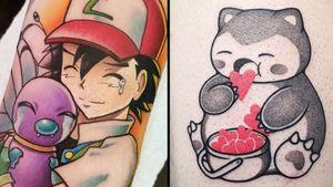 Pokemon tattoo on the left by Nicole Willingham and Pokemon tattoo on the right by Hugocide #Hugocide #NicoleWillingham #Pokemontattoo #Pokemontattoos #detectivepikachu #pokemonmovie #tvshow #anime #animation #cartoon #manga #otaku #Japanese