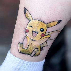 Pokemon tattoo by Sara Burzyńska #SaraBurzynska #Pokemontattoo #Pokemontattoos #detectivepikachu #pokemonmovie #tvshow #anime #animation #cartoon #manga #otaku #Japanese