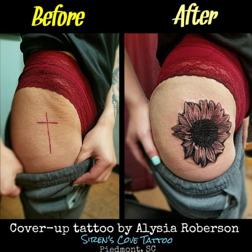 Cover-up tattooed by Alysia Roberson at Siren's Cove Tattoo in Piedmont, SC! #coveruptattoo #realistictattoo #crosstattoo #sunflowertattoo #flowertattoo  #girlytattoo #hiptattoo #thightattoo #blackandgreytattoo #tattoonightmares #tattoos #tattooed #tattooedwomen #tattooedwoman #inkedgirls #inkedgirl #inkedfemales #sctattoo #sctattooartist #sctattooshop #sctattooist #sctattooer #southcarolinatattooartist #greenvillesc #downtowngreenville #andersonsc #clemsonsc #Alysiarobersontattoo #sirenscovetattoo www.facebook.com/sirenscovetattoo www.facebook.com/Alysia.Roberson.Tattoo.Artist