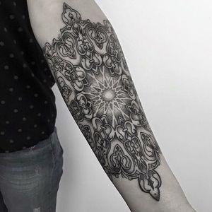 Mandala tattoo by Dulah #Dulah #mandalatattoos #mandalatattoo #mandala #pattern #ornamental #sacredgeometry #geometric #shapes #linework #dotwork #blackwork