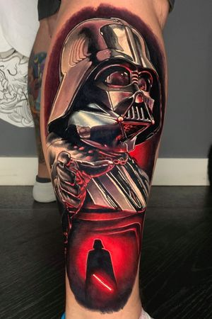 I did a #coverup with this #DarthVader last week. #Vader is almost always used as a cover up. I always love doing a #StarWars tattoo though. #realisticportrait #realism #starwarstattoo