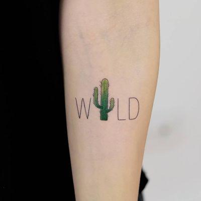 Wild. #wild #letter #lettertattoo #cactus #flower #cactustattoo #tiny #littletattoo #tinytattoo #colortattoo #tattoo #art #draw #hakanadik