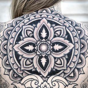 Mandala tattoo by Aries Rhysing #AriesRhysing #mandalatattoos #mandalatattoo #mandala #pattern #ornamental #sacredgeometry #geometric #shapes #linework #dotwork #blackwork
