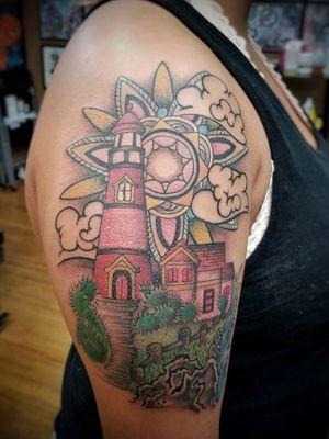 Dm or email for availability . . . #australiantattoo #melbournetattoo #tattoomelbourne #australiantattooistsguild #tattoo #tattoos #melbournetattooartist #docstattooz #funinthesun #customtattoos #melbournetattooculture #flkeys #floridakeys #floridatattooartist #keywest #lighthouse #lighthousetattoo #geometrictattoo
