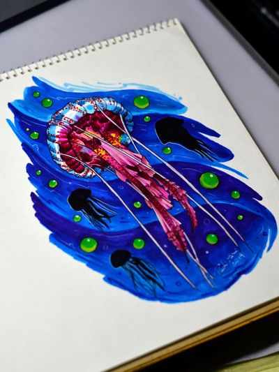 #estudiodetatuagem Memento Mori - tatuagens com horário marcado - orçamentos e agendamentos pelo WhatsApp ☎️ (11) 973701974 ou pela página do estúdio no Facebook : @mementomoritattoostudio 💀⏳🕯- próximo ao metrô Tucuruvi - @thiagopadovani #jellyfish #aguaviva #jellyfishtattoo #copicmarkers #copic